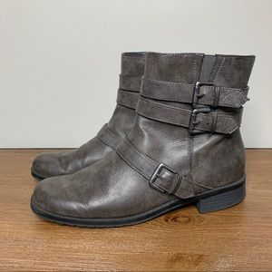 A2 BY AEROSOLES Moto Buckle Booties in Gray